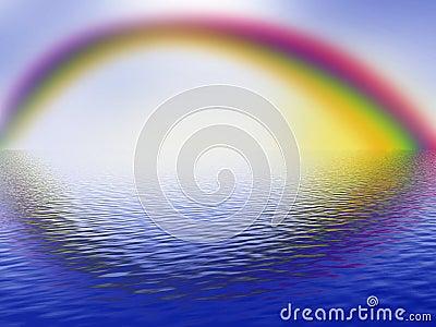Rainbow, cloudy sky and ocean