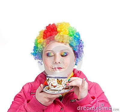 Rainbow Clown with cup of tea