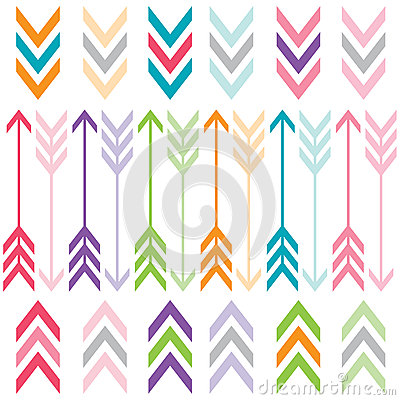 Free Rainbow Color Arrows Set Stock Images - 57015764