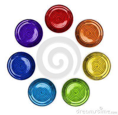 Rainbow Color Plates in Circle