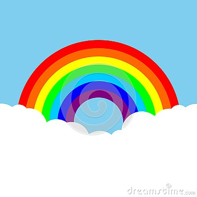 Rainbow with clouds colorful background Cartoon Illustration