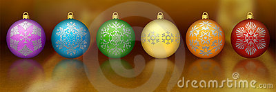 Rainbow colored Christmas ornaments