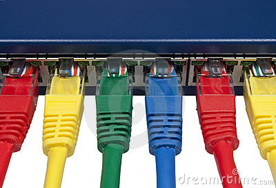 Rainbow colored connected computer network plugs