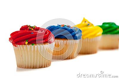 Rainbow colored cupcakes