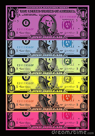 Rainbow colored dollar bills