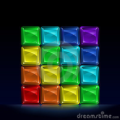 Rainbow colored glass cubes