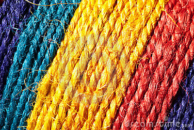 Rainbow-colored hemp rope