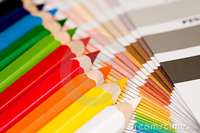 Rainbow of colored pencils