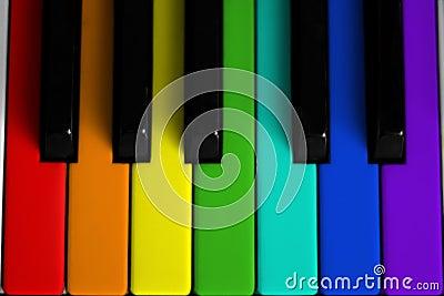 Rainbow colored piano