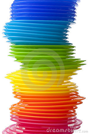Rainbow colored plastic plates