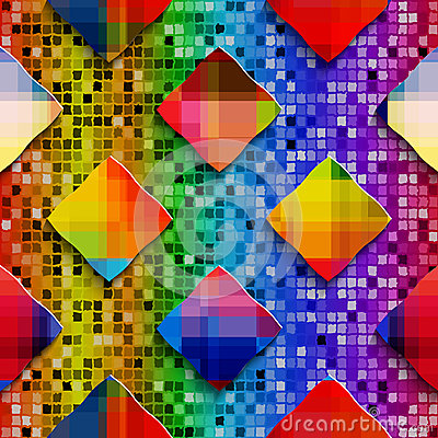 Rainbow colored rectangles on rainbow colored mosaic seamless pa