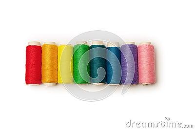 Rainbow colored set of threads