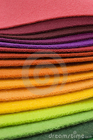 Rainbow colored textile layers