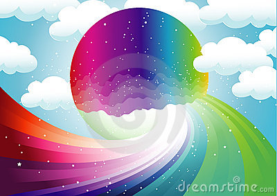 Rainbow and colorful moon