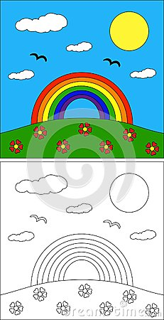 a rainbow coloring page for kids
