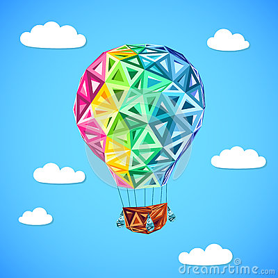 Free Rainbow Colors Abstract Triangles Flying Balloon Royalty Free Stock Images - 29756799