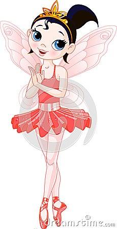 (Rainbow colors ballerinas series). Red Ballerina