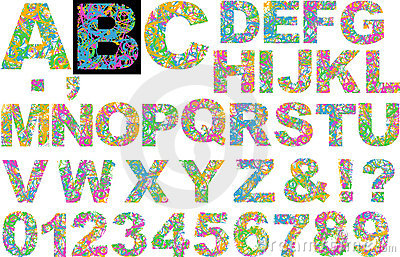 Rainbow Colors Curves Alphabet