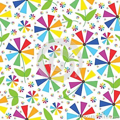 Rainbow Colors Flowers Seamless Pattern_eps