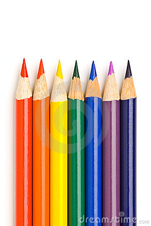 Rainbow colors in pencils