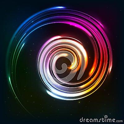Rainbow colors shining neon lights twirl