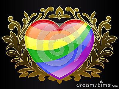 Rainbow colour heart with golden ornamental crest