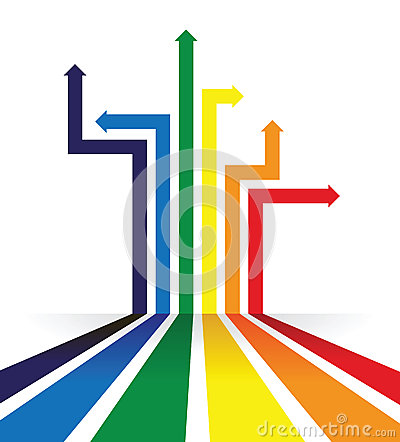 Rainbow coloured arrow line perspective background