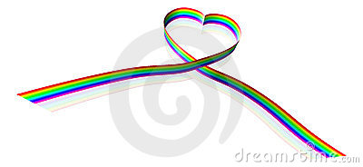 Rainbow coloured heart shape ribbon