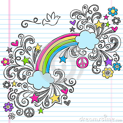 Rainbow and Dove Peace Doodles Vector