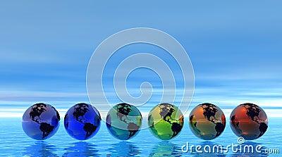 Rainbow earth on sea