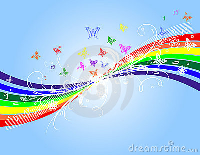 Rainbow and floral background