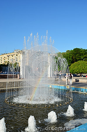 Rainbow in the fountain - Kharkiv Ukraine