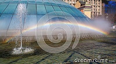 Rainbow in a fountain. Kiev
