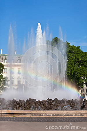 Rainbow in Fountain in Vienna