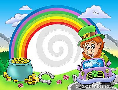 Rainbow frame with leprechaun in car