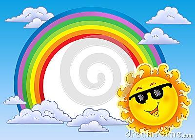 Rainbow frame with Sun in sunglasses