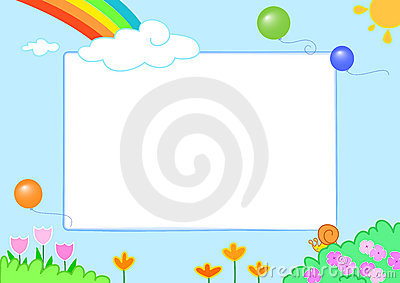 Rainbow with funny slug and flowers - photo frame