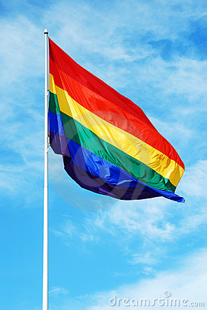 Free Rainbow Gay Pride Flag On The Blue Sky Royalty Free Stock Images - 4612119