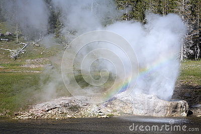 Rainbow in geyser
