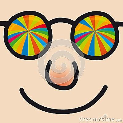 Rainbow Glasses Cartoon Man