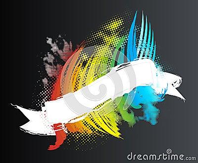 Rainbow halftone ribbon banner