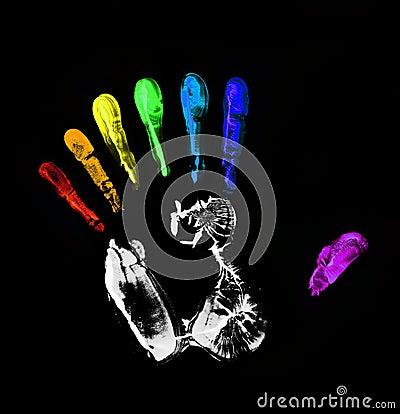 Rainbow hand-print. Seven fingers