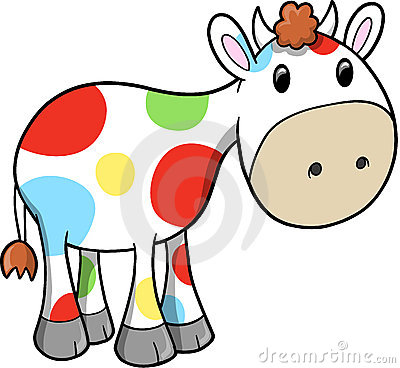 Rainbow Happy Cow Vector Illustration