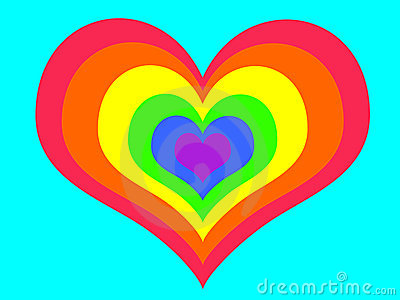 Rainbow heart on blue background