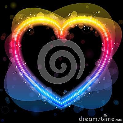 Rainbow Heart Border with Sparkles