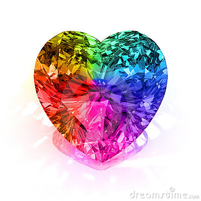 Free Rainbow Heart Shape Diamond Royalty Free Stock Photography - 14228717