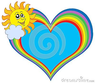 Rainbow heart with sun