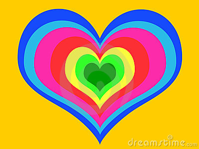 Rainbow heart on yellow background