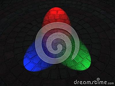 Rainbow illumination on round stone surface,disco,