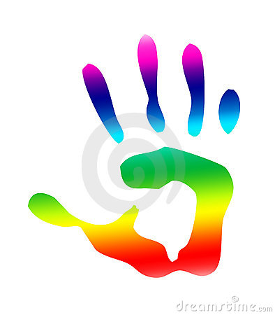 Rainbow isolated handprint